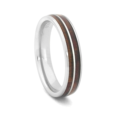 Comfort Fit Domed 4m Tungsten Carbide Wedding Ring With Genuine Wood